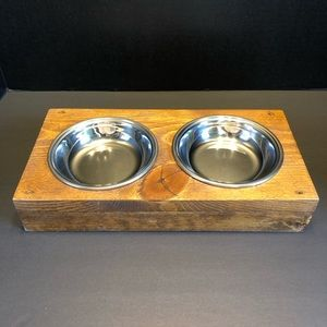 Handmade Solid Wood & Metal Pet Bowls